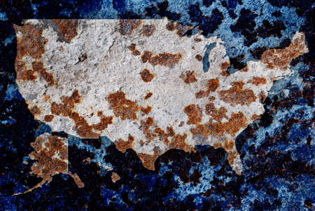 disintegrate: Rusty metal plate with coloured map of the United States of America