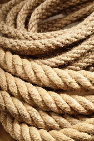 traditional climbing: Interleaved linen ropes used for grinder