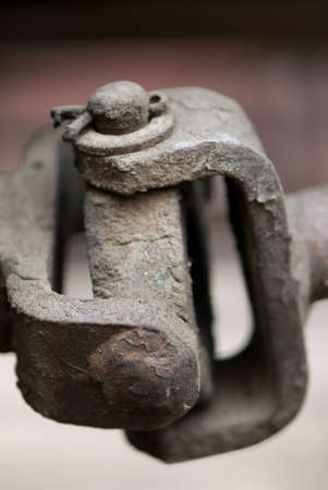 sturdy: Aged train linkage made of sturdy steel Stock Photo