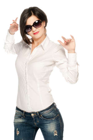White shirt girl in jeans isolated on white half shot photo