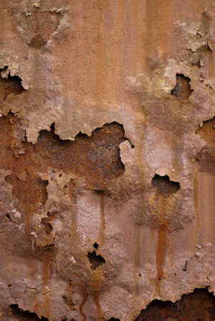 oxidated: Coroded metal plate stained from rain drops peeling Stock Photo