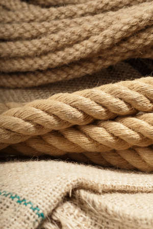 Natural jute rope detail macro shot on a cloth