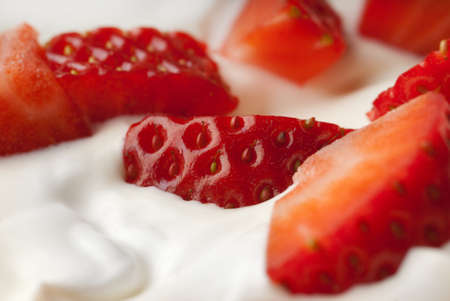 whipped cream: Closeup of refreshing snack with strawberries