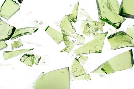 fragmented: Green shards of glass isolated on white Stock Photo