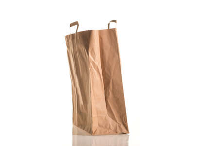 Carton bag environmentally friendly isolated on white photo