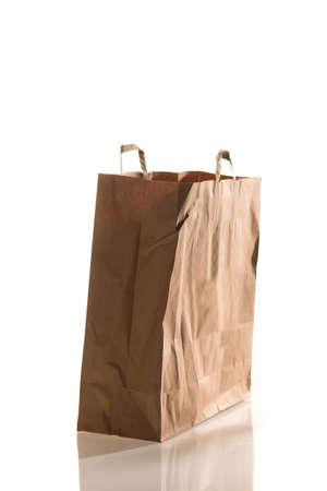 Side on shot of a paper bag isolated on white photo
