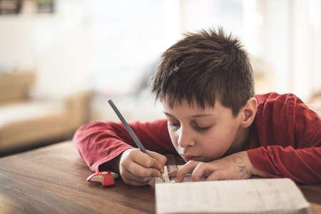 Boy doing homework mathematics at home Stock Photo