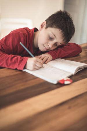 Boy doing homework at home Stock Photo