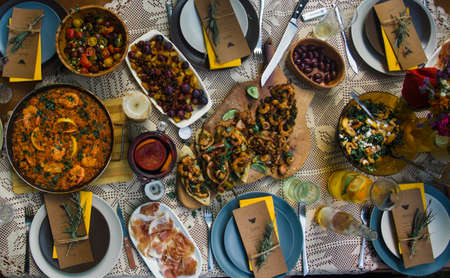 Spanish traditional lunch for several people