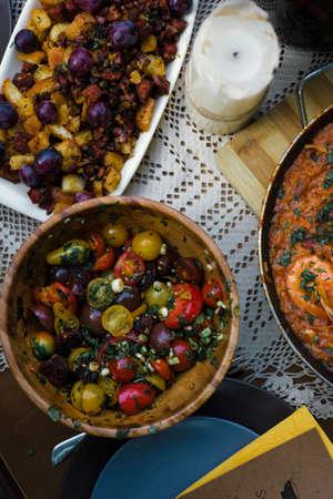 Traditional spanish tapas table variety