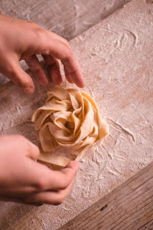 Traditional handmade italian tagliatelle are ready Stock Photo