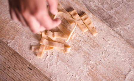 Emilia Romagna traditional italian tagliatelle pasta making