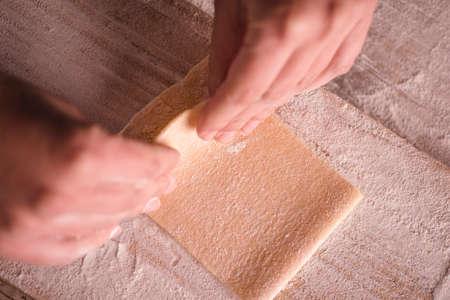 Traditional itailian tagliatelle pasta handmade Stock Photo