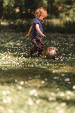Toddler playing with ball in the yard on a sunny day