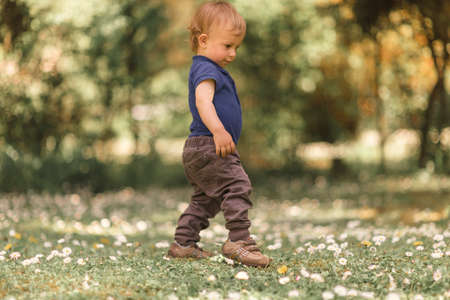 small boy walking in the green grass