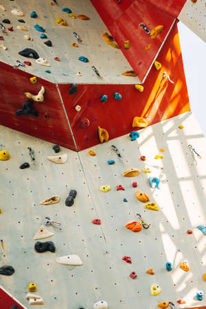 Outdoor rock climbing wall in a sport facility 免版税图像