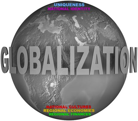 regional: Gray globe with opposition of globalization and national and regional words Stock Photo