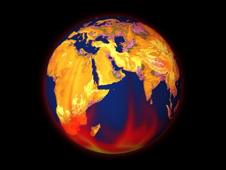 Red-hot globe with glow in the flame Stock Photo - 7585627