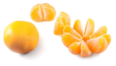 Three fresh mandarins in different modes isolated on white background