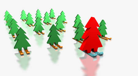 distinguish: Green Christmas trees skiing with the red leader