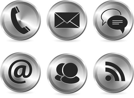 icon contact: Vector set of metallic stylish modern communication icons for web and print usage
