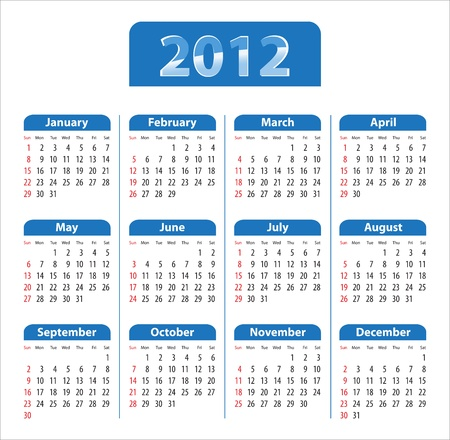 Blue glossy calendar for 2012. Sundays first. Vector illustration Vector