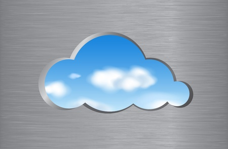 Cloud shape cut out from brushed metal wall with a view of the clouds in the sky. Cloud computing abstract concept. Vector illustration. Ilustração