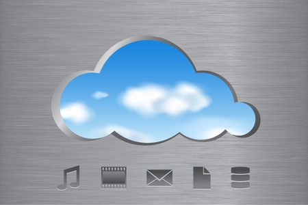 Cloud shape cut out from brushed metal wall with a view of the clouds in the sky and icons. Cloud computing abstract concept. Vector illustration. Vector