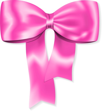knotted: Nice pink bow for gifts and decorations. Ribbon. illustration Illustration