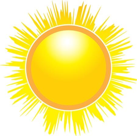 De zon op een witte achtergrond. Vector illustratie Vector Illustratie