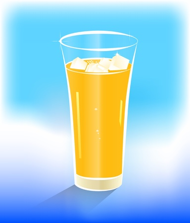 icy: Vector illustration of a glass of orange juice with ice