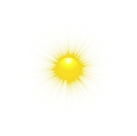 morning sun: The Sun isolated on white background. Vector illustration