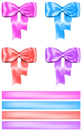 anniversary wishes: Colorful bow and ribbon set for gifts, cards, boxes and decorations  Vector illustration