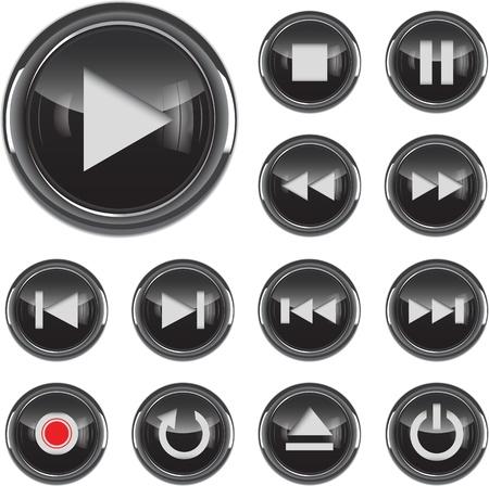botones musica: Negro brillante bot�n de icono de multimedia, el control conjunto ilustraci�n vectorial
