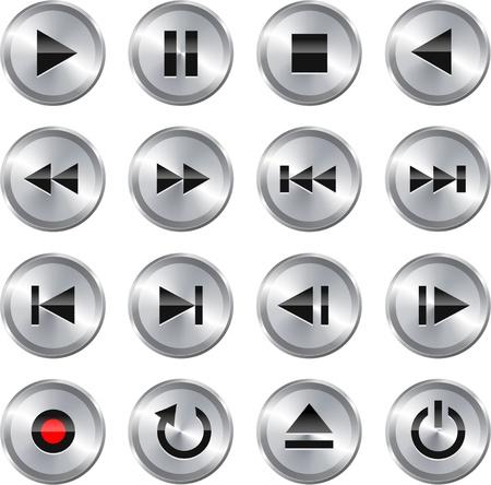 botones musica: Met�lico brillante bot�n de icono de control de multimedia de conjunto ilustraci�n vectorial