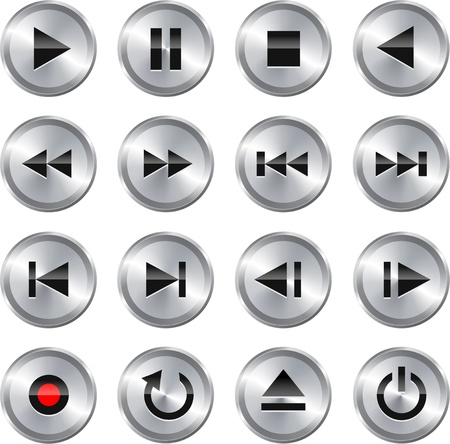 Metallic glossy multimedia control button icon set  Vector illustration Illustration