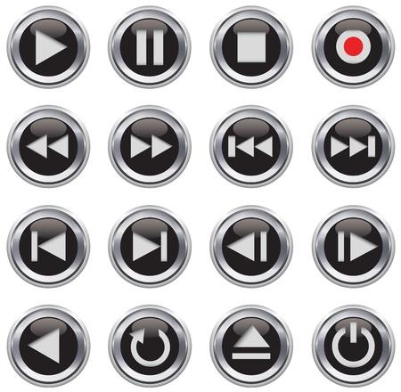 botones musica: Met�lico y de color negro brillante conjunto multimedia de control de bot�n  icono. Ilustraci�n vectorial