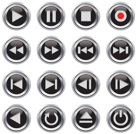 dvd player: Metallic and black glossy multimedia control buttonicon set. Vector illustration