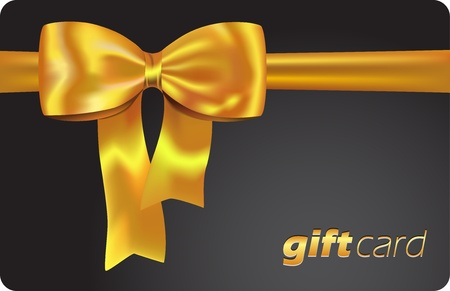 creative card: Black gift card with golden ribbon and bow illustration