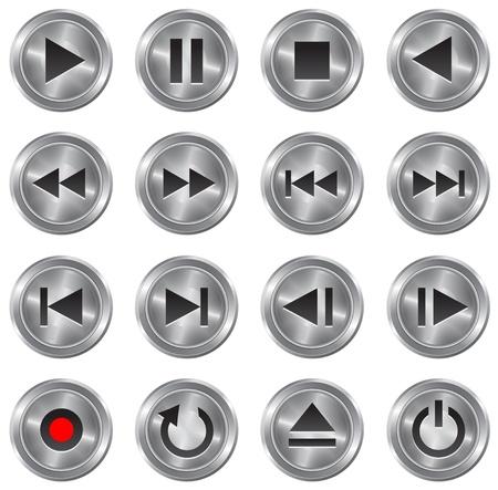Metallic stylish multimedia control buttonicon set illustration Vector