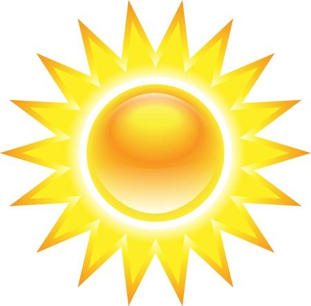 el sol: Brilla el sol brillante sobre fondo blanco