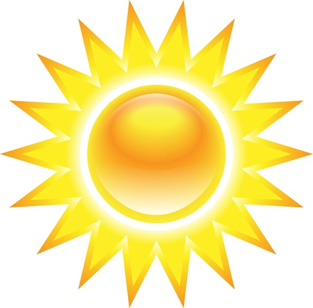 Shining glossy sun isolated on white background Vector