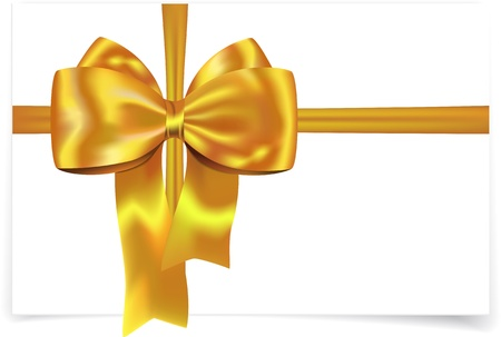 Golden yellow gift ribbon with bow for cards, boxes and decorations Ilustração