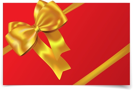 birthday wishes: Golden gift ribbon with bow on red card