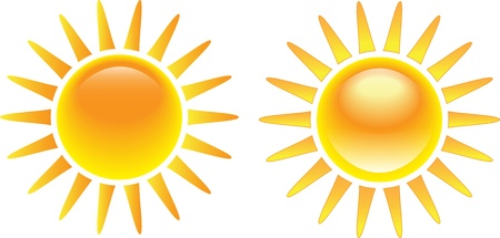 Shining glossy sun set isolated on white background. Vector illustration Stock Vector - 14164469