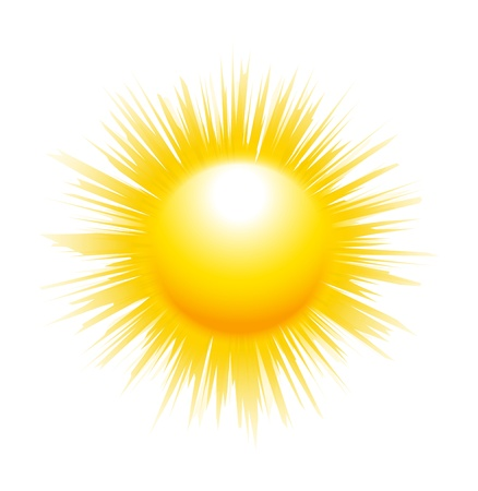El sol con sus rayos fuertes aisladas sobre fondo blanco Ilustración de vector