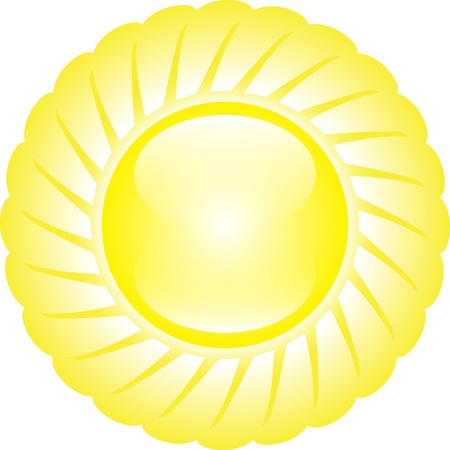 Yellow glossy shining sun isolated on white background. Stock Vector - 14315436