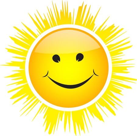 Glimlachend glanzende zon met stralen geïsoleerd op een witte achtergrond.