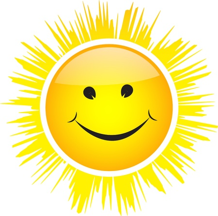 Smiling glossy Sun with rays isolated on white background.