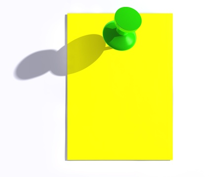 Yellow note paper and a glossy push pin with shadow.  photo